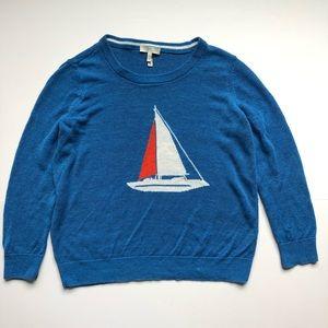 Joie Evaline Sailboat Linen Sweater Nautical